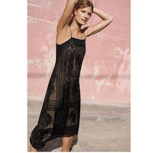 Anthropologie Floreat Luna Embroidered Slip Dress
